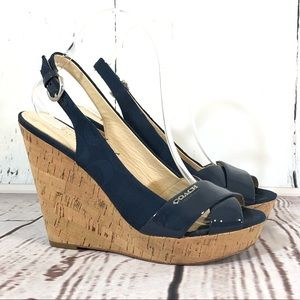 Coach Navy Cork Wedge Sandals 8.5